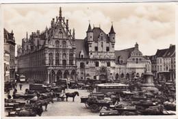 MECHELEN / PAARDEN EN KARREN VOOR HET STADHUIS - Mechelen