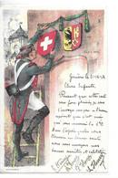 SUISSE  GENEVE    MILITAIRE SUR ECHELLE INSTALLE LE BLASON CROIX BLANCHE FOND ROUGE  ENFIN 1814   ILLUSTRATEUR PH SX - GE Genève