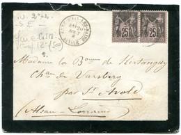 Dateur T 18 GARE -D AIX-LES -BAINS  SAVOIE Sur Sage N°97  Sur Env. 20/08/1886 Pour ALSACE Pothion N°24 - Spoorwegpost