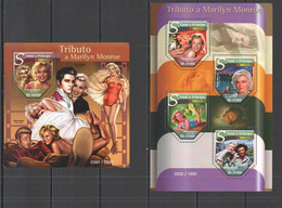 ST1487 2015 S. TOME E PRINCIPE FAMOUS PEOPLE TRIBUTE OF MARILYN MONROE KB+BL MNH - Actors