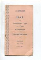 CHALONS SUR MARNE Carnet De Bal  Personnel Civil Du Parc D'artillerie Brasserie Bellevue 1935 Orchestre My Kid Jazz Capy - Programs