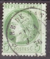 Cérès N° 53 Vert-jaune Fond Ligné - Oblitération T17 Gare De Nancy (?) - Janvier 1876 - 1871-1875 Cérès