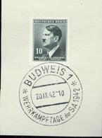 12603 Böhmen Und Mähren Briefstück SoStpl. Wehrkampftage Der SA Budweis 1942 - Occupation 1938-45