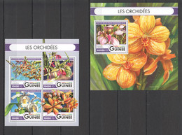ST031 2016 GUINEE GUINEA PLANTS FLOWERS ORCHIDS 1KB+1BL MNH - Orchidee