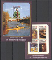 CA058 2016 CENTRAL AFRICA CENTRAFRICAINE ART 100 COMMEMORATION DEATH THOMAS EAKINS KB+BL MNH - Other
