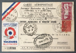 France Poste Aérienne - Carte Aéropostale, Journée De L'Aviation Vincenne 1931, Pour Bucarest, Roumanie - (B1812) - 1927-1959 Brieven & Documenten
