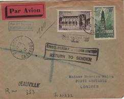 Lettre Par Avion Recommandé Provisoire Deauville 1 Er Service Pour Londres Timbre Beffroi Arras Et Chenonceaux 15.7.47 - Luchtpost