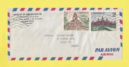 Lettre CAMBODGE + KHMÈRE  Temple BAKSEI  Censuré Censure Au Dos De Phnom-Penh Par Avion Pour Paris Le 11 08 72 Guerre - Kambodscha
