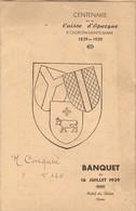 Vieux Papier D'Oloron (64), Centenaire De La Caisse D'Epargne, Banquet Du 16 Juillet 1939, Menu + Programme, Corton - Historical Documents
