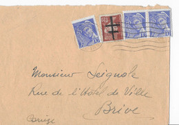 Un Lettre Avec Affr Composé  Surcharge Manuelle Sur Le 1f20 Pétain ( Limoges) - Liberación