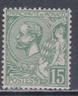 Monaco N° 44 XX  : Prince Albert 1er : 15 C. Vert   Sans Charnière  TB - Unused Stamps