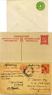 India St. TRAVANCORE ANCHAL 3 Interi Postali, Uno Viaggiato - Travancore