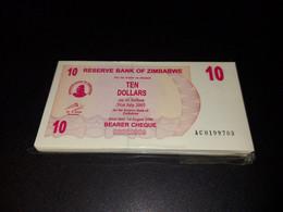 LOT 10 PCS - ZIMBABWE 10 DOLLARS 2007. UNC - Simbabwe