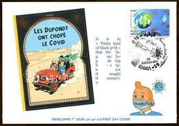 ALGERIJE 2021 - FDC - Tintin - COVID - Coronavirus - Pandemic Diseases Health - Gesundheit - Comics Pandemie Krankheiten - Fumetti