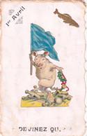 1 Er Avril - Devinez Qui ? Carte Relief Découpis Cochon Poisson - 1 De April (pescado De Abril)