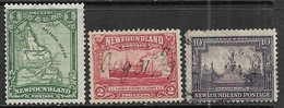 Newfoundland   1928  Sc#145-6, 153   3 Diff Used   2016 Scott Value $5.70 - 1908-1947