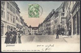 Delémont - Grand Rue - Belebt – Animée  - 1906 - JU Jura