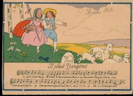 CPA  RARE - Partition Barré Dayez Les Rondes Enfantines Illustrateur Jack Il Pleut Bergère - Música Y Músicos