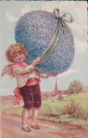 Buona Pasqua, Angelot Et Oeuf Fleuri, Litho (31.3.34) - Pâques