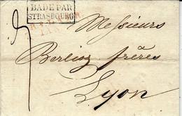 1823- Letter From  R.1. LAHR / 7 IAN  1923 Red + BADE PAR / STRASBOURG  Black  To Lyon - Entry Postmarks
