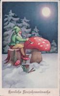 Herzliche Neujahrswünsche, Nains Et Champignons Au Clair De Lune (8622) - 1900-1949