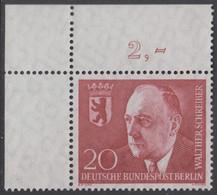 !a! BERLIN 1960 Mi. 192 MNH SINGLE From Upper Left Corner -Dr. Walther Schreiber - Ongebruikt