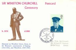 """GB """"CHURCHILL CENTENARY 1874-1974 WOODFORD GREEN 9 OCT 1974 ESSEX"""" Cvr - Storia Postale"""