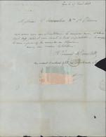 CAD T14 Lyon 15 AOUT 1843 (68) Rhône Alpes 69 Taxe Manuscrite 3 Pour St Chamond Loire Superbe échantillon Tissus - 1849-1876: Classic Period
