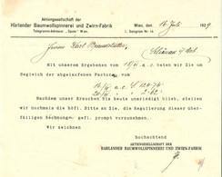 """Österreich Wien 1929 Rechnung """" Harlander Baumwollspinnerei AG Salzgries 14 """" - Austria"""