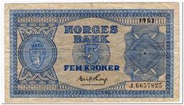 NORWAY,5 KRONOR,1953,P.25d,FINE - Norway