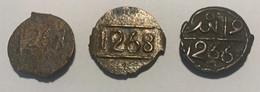 ADD-EL-RAHMAN - 1822 -1859 -2 Falus De Bronze Ø18mm  - 3 Pieces 3,90(2) Et 4,26g - 1266 - 1267 -1268 - - Marocco