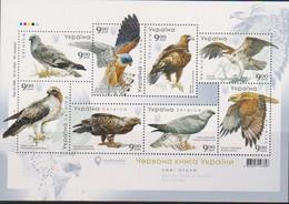 UKRAINE, 2020, MNH, BIRDS, BIRDS OF PREY, EAGLES,FALCONS, SHEETLET - Águilas & Aves De Presa