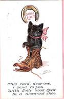 Chat Noir- Black Cat, Good Luck -katze -zwart Poesje In Laars - Chats