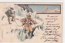 Die Gletscherspalte - Signiert Ernst Platz - Litho - 1898     (A-307-201004) - Andere Illustrators