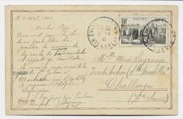 SURTAXE 80C SECOURS NATIONAL SEUL CARTE EVIAN 3.4.1941 AU TARIF RARE - 1921-1960: Periodo Moderno