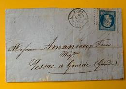 13388 -  Lettre De Rouen  8 Juin 1859 Pour Pessac De Gensac Verso Ambulant Paris à Bordeaux - 1853-1860 Napoleone III