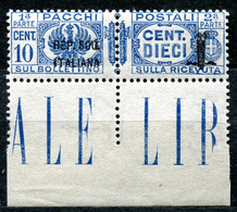 Z2500 ITALIA RSI 1944 Pacchi Postali Sopr. Fascetto 36 Mm., VARIETA', C. 10, MNH**,  Sassone 37a, Valore Catalogo € 60, - Mint/hinged
