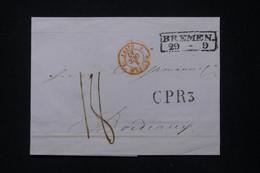 """FRANCE - Cachet D'entrée En Rouge """" Prusse 3 Givet"""" Sur Lettre De Bremen Pour Bordeaux 1842 - L 91175 - Entry Postmarks"""