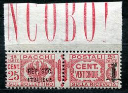Z2503 ITALIA RSI 1944 Pacchi Postali Sopr. Fascetto, C. 25, MNH**,  Sassone 38, Valore Catalogo € 25, Ottime Condizioni - Neufs