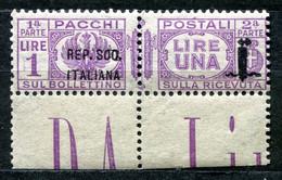 Z2510 ITALIA RSI 1944 Pacchi Postali Sopr. Fascetto 36 Mm., VARIETA', L. 1, MNH**,  Sassone 42a, Valore Catalogo € 60, O - Mint/hinged