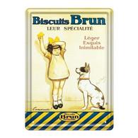 Plaque Metallique Pub Biscuits Brun Ed Clouet - Autres