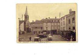 Cpa - 71 - MARCIGNY -Place Des Halles Et L'Eglise - Pancarte FORD Pompe Essence Voiture Magasin Coiffeur 1937 - Andere Gemeenten