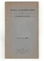 """PETIT LIVRE UTILITAIRE """" ESSAI De CLASSIFICATION Des TIMBRES-POSTE """" Par YVERT ET TELLIER (1928) - Filatelia E Storia Postale"""