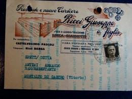 LUCCA - PREMIATE E NUOVE CARTIERE RICCI GIUSEPPE E FIGLIO 1939 CARTOLINA PUBBLICITARIA - Lucca