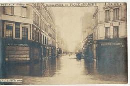 CPA   PHOTO PUTEAUX   Inondation 1910 , Rue De Paris, Et Place Du Marché - Puteaux