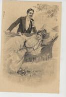 FEMMES - FRAU - LADY - Jolie Carte Fantaisie Précurseur Couple Amoureux Femme Dans Hamac - Women