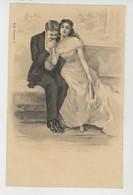 FEMMES - FRAU - LADY - Jolie Carte Fantaisie Précurseur Couple Amoureux Femme Avec éventail - Women