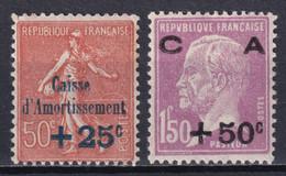 1928 - YVERT N° 250/251 * MH !  - COTE = 95 EUR. - SEMEUSE + PASTEUR CAISSE AMORTISSEMENT - Sinking Fund