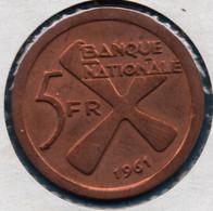 KATANGA 5 FRANCS 1961 KM# 2 Régime De Bananes - Congo (Republic 1960)