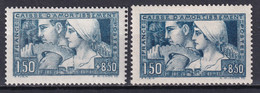 1928 - YVERT N° 252 + 252b (ETAT I + III) ** MNH !  - COTE = 520 EUR. - LE TRAVAIL - CAISSE AMORTISSEMENT - Sinking Fund